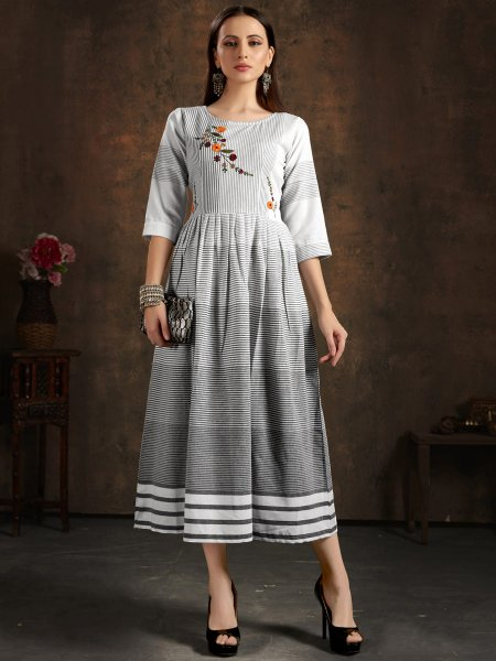 Light Gray Cotton Embroidered Party Kurti