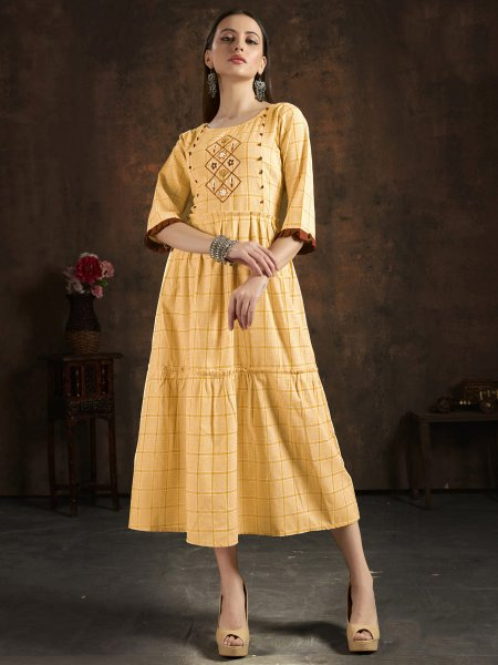 Light Yellow Cotton Embroidered Party Kurti