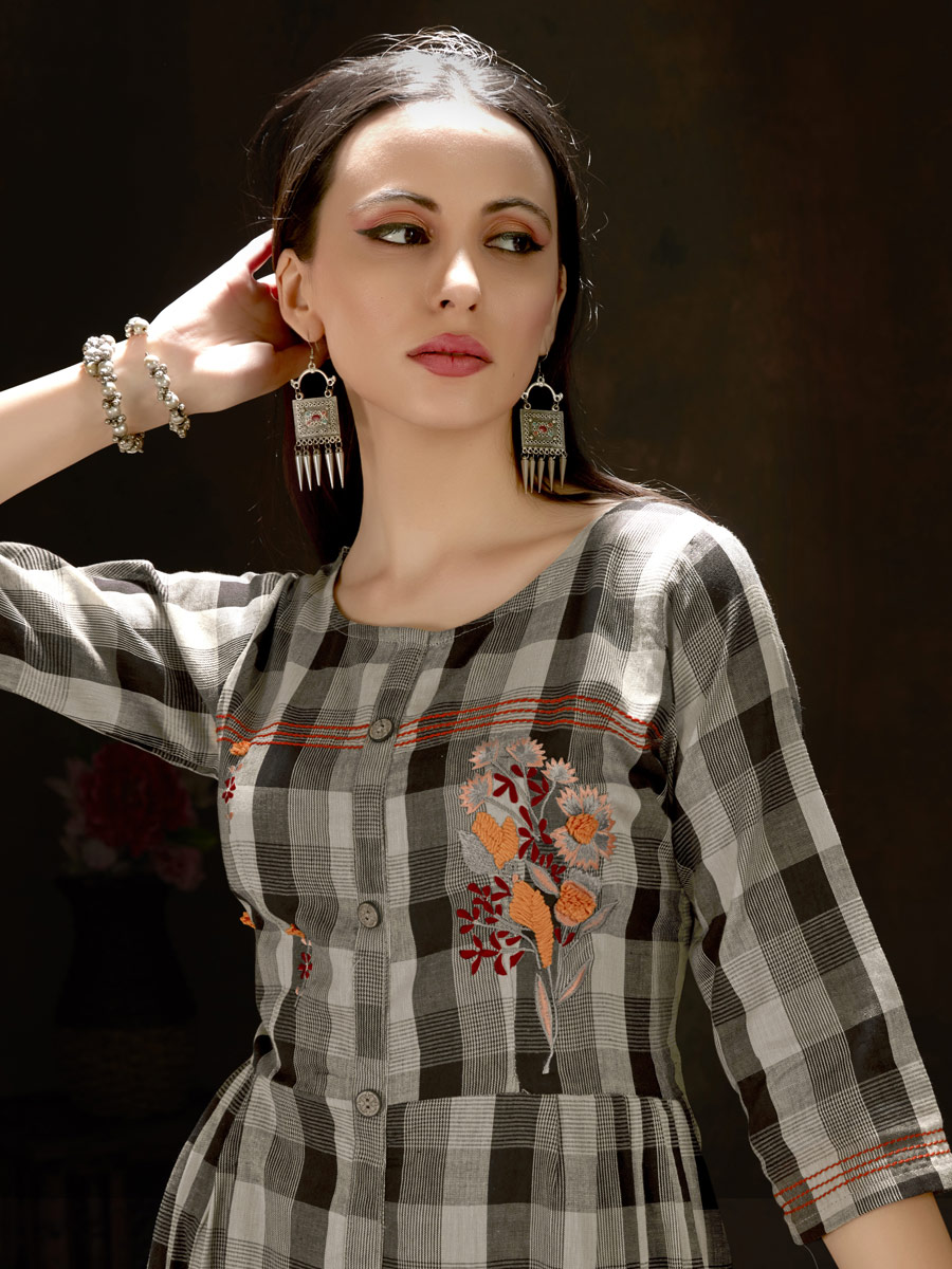 Black and Gray Cotton Embroidered Party Kurti