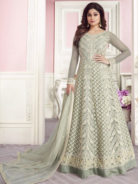 Light Gray Net Embroidered Festival Lawn Kameez