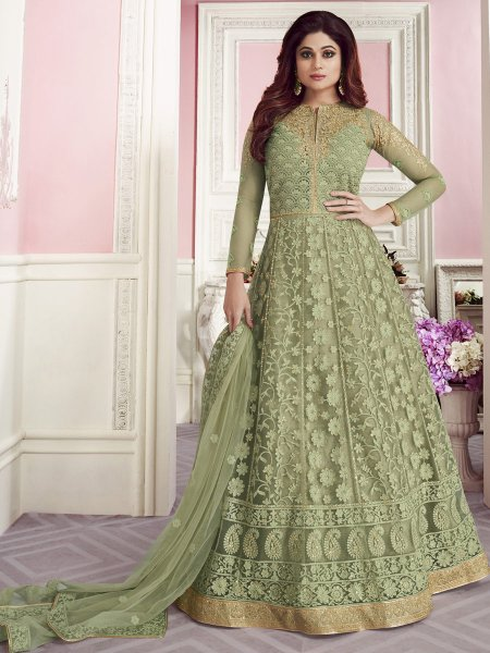 Asparagus Green Net Embroidered Festival Lawn Kameez