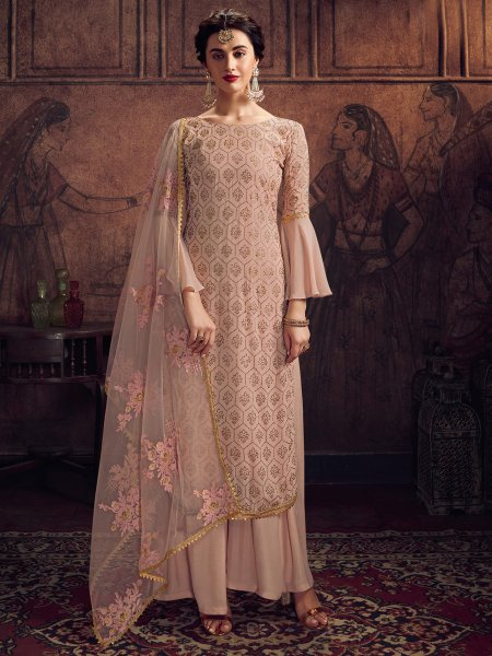 Light Coral Pink Rangoli Embroidered Party Palazzo Pant Kameez