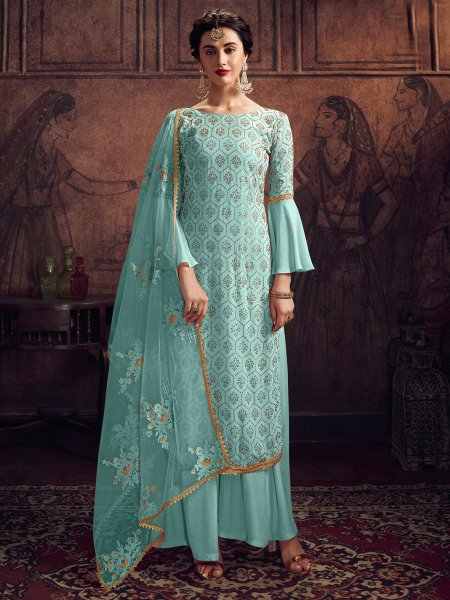 Sky Blue Rangoli Silk Embroidered Party Palazzo Pant Kameez