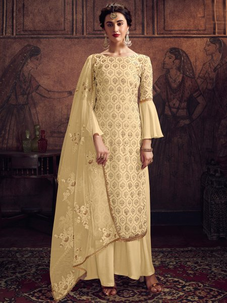 Light Yellow Rangoli Silk Embroidered Party Palazzo Pant Kameez