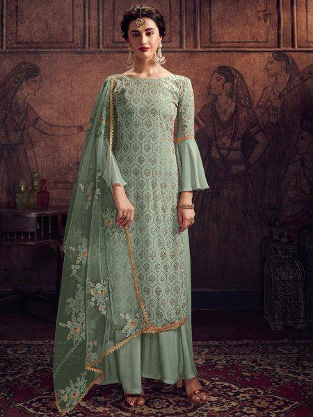 Light Viridian Green Rangoli Silk Embroidered Party Palazzo Pant Kameez