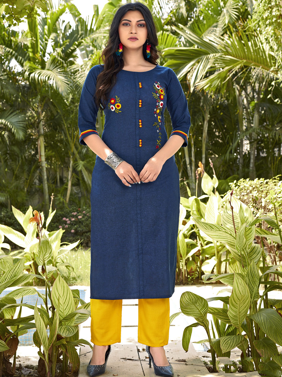 Navy Blue Cotton Embroidered Party Kurti
