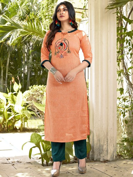 Coral Orange Cotton Embroidered Party Kurti