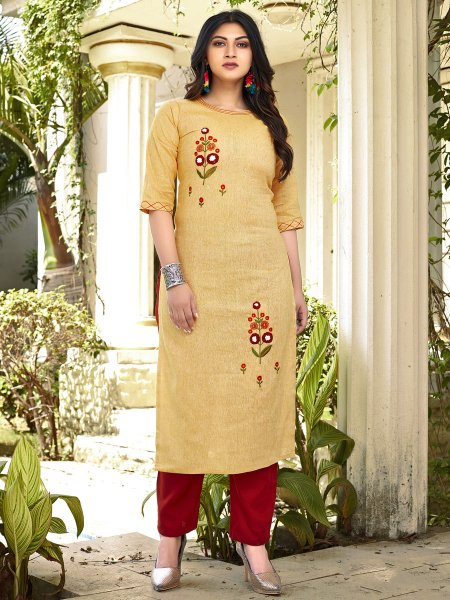 Buff Yellow Cotton Embroidered Party Kurti