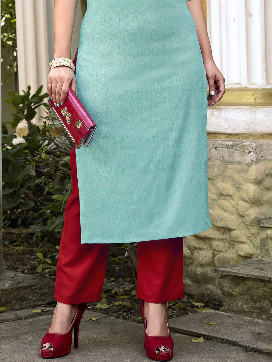 Sky Blue Cotton Embroidered Party Kurti