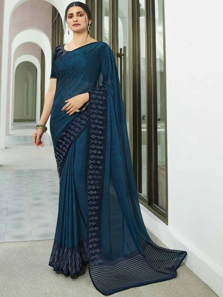 Yale Blue Vichitra Silk Printed Party Saree