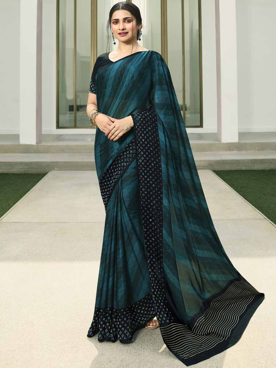 Pine Green Vichitra Silk Printed Party Saree
