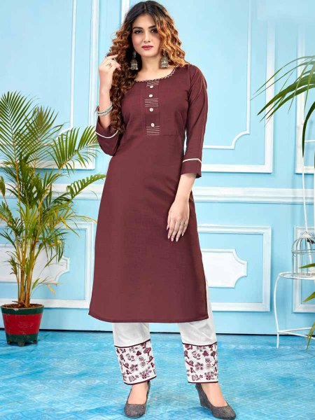 Carmine Red Cotton Plain Party Kurti