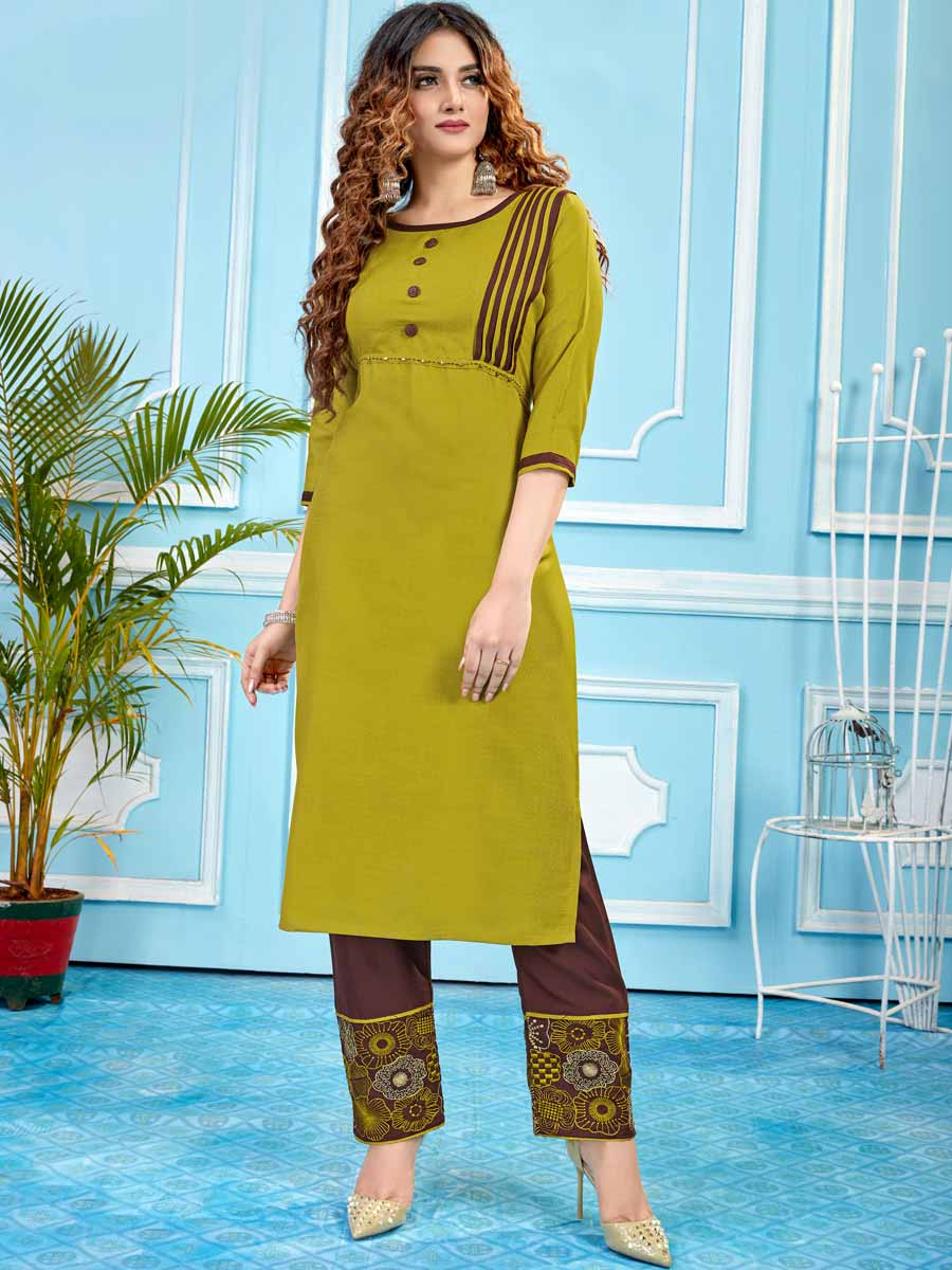 Pear Green Cotton Plain Party Kurti