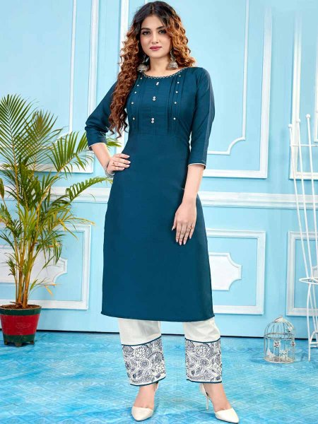 Midnight Blue Cotton Plain Party Kurti