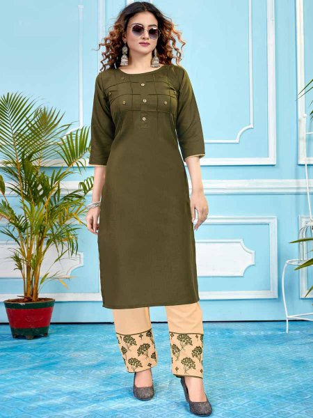 Olive Green Cotton Plain Party Kurti