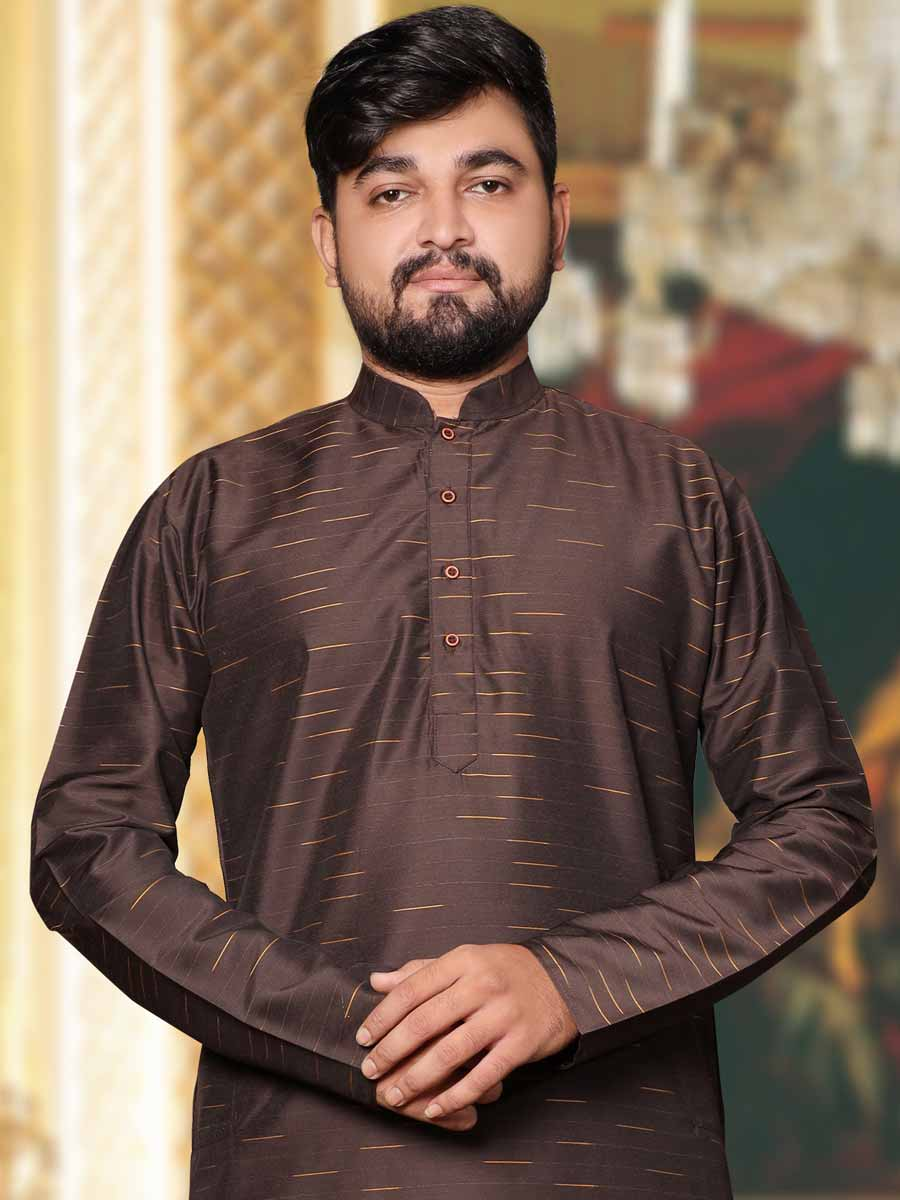 Auburn Brown Silk Plain Casual Kurta