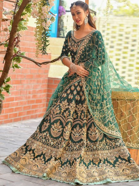 Midnight Green Silk Embroidered Wedding Lehenga Choli