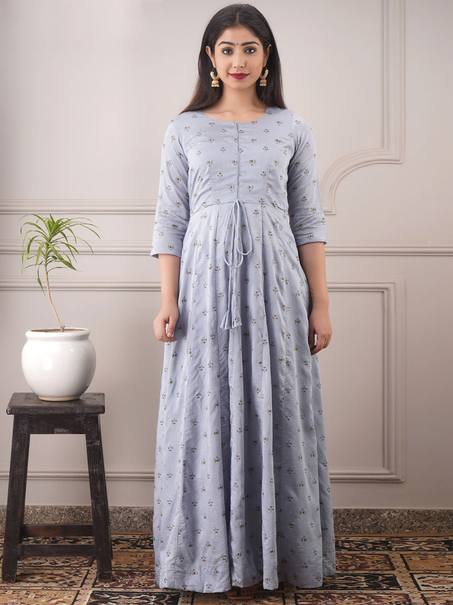 Light Gray Chanderi Printed Party Gown