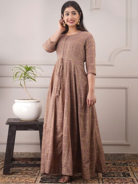 Light Brown Chanderi Printed Party Gown