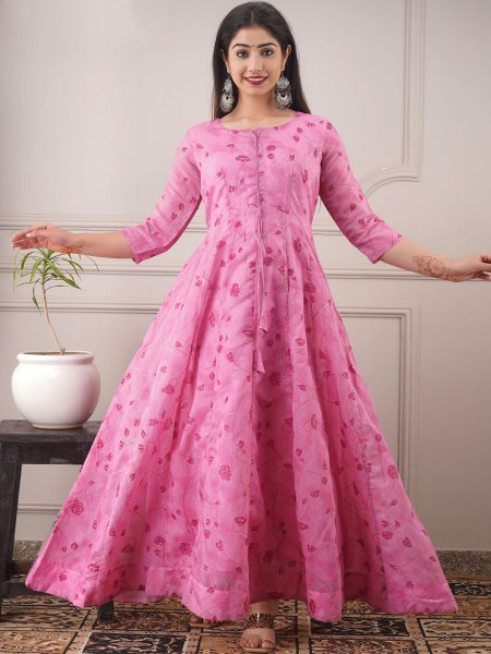 Rose Pink Chanderi Printed Party Gown