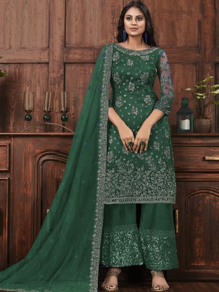 Pine Green Net Embroidered Party Palazzo Pant Kameez