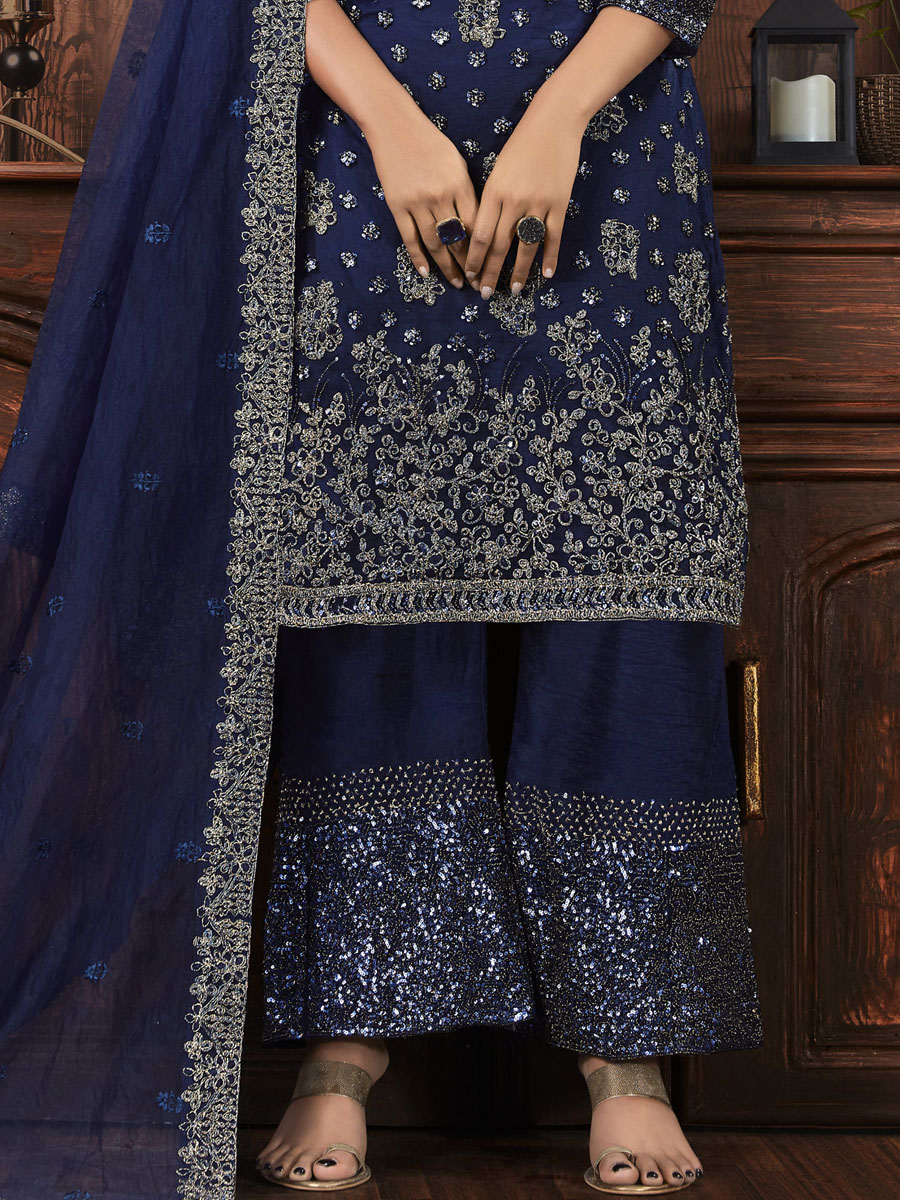 Navy Blue Net Embroidered Party Palazzo Pant Kameez