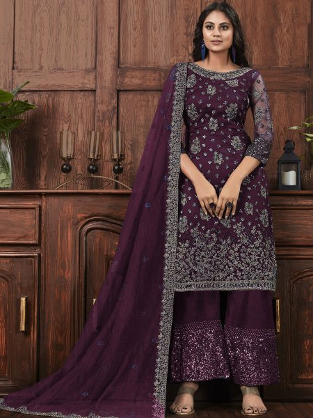 Byzantium Purple Net Embroidered Party Palazzo Pant Kameez