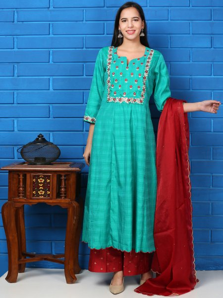Turquoise Blue Silk Embroidered Festival Palazzo Pant Kameez