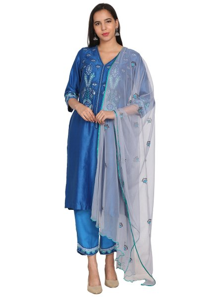 Dodger Blue Chanderi Embroidered Festival Pant Kameez
