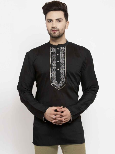 Black Silk Printed Casual Short Kurta