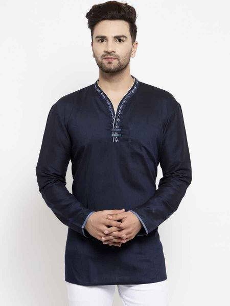 Navy Blue Silk Embroidered Casual Short Kurta