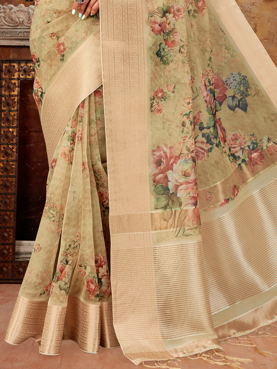 Beige Yellow Organza Printed Party Saree