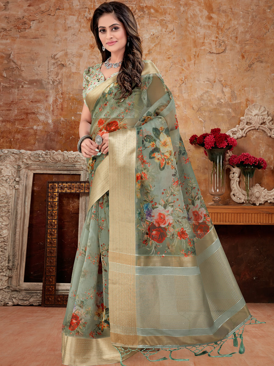 Camouflage Green Organza Printed Party Saree