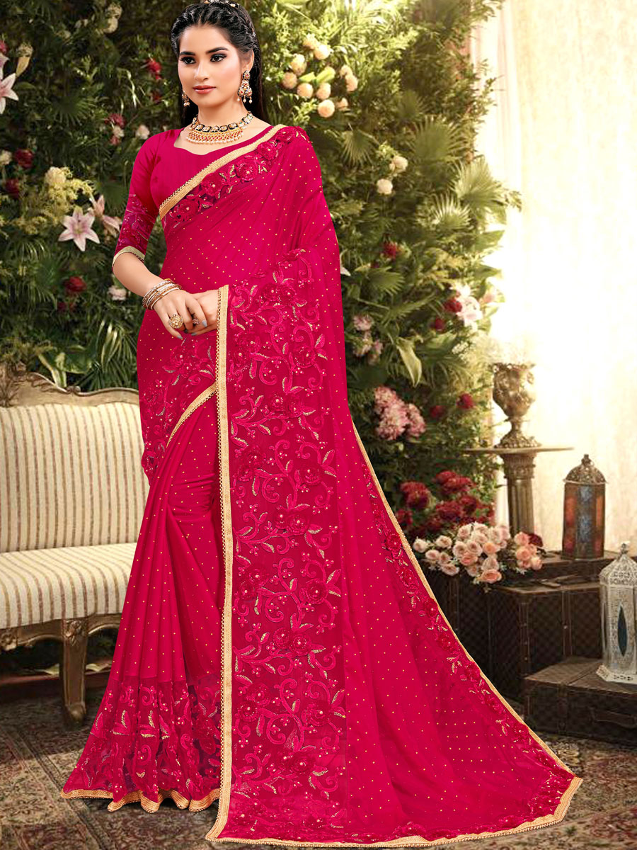 Dark Pink Rangoli Silk Embroidered Party Saree