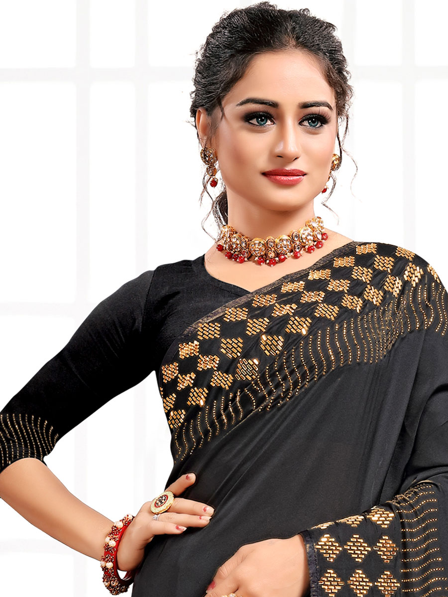 Black Satin Plain Party Saree