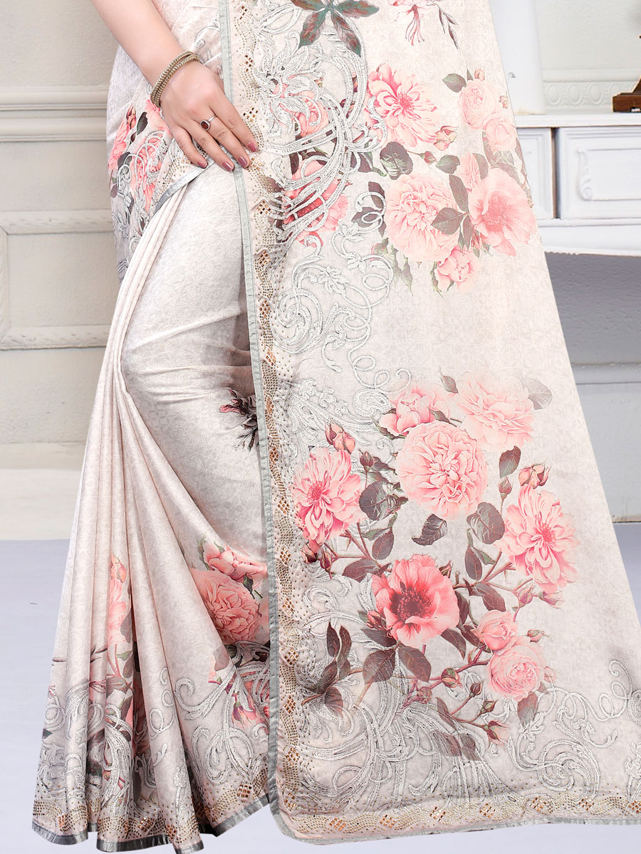 Light Gray Satin Georgette Printed Party Saree