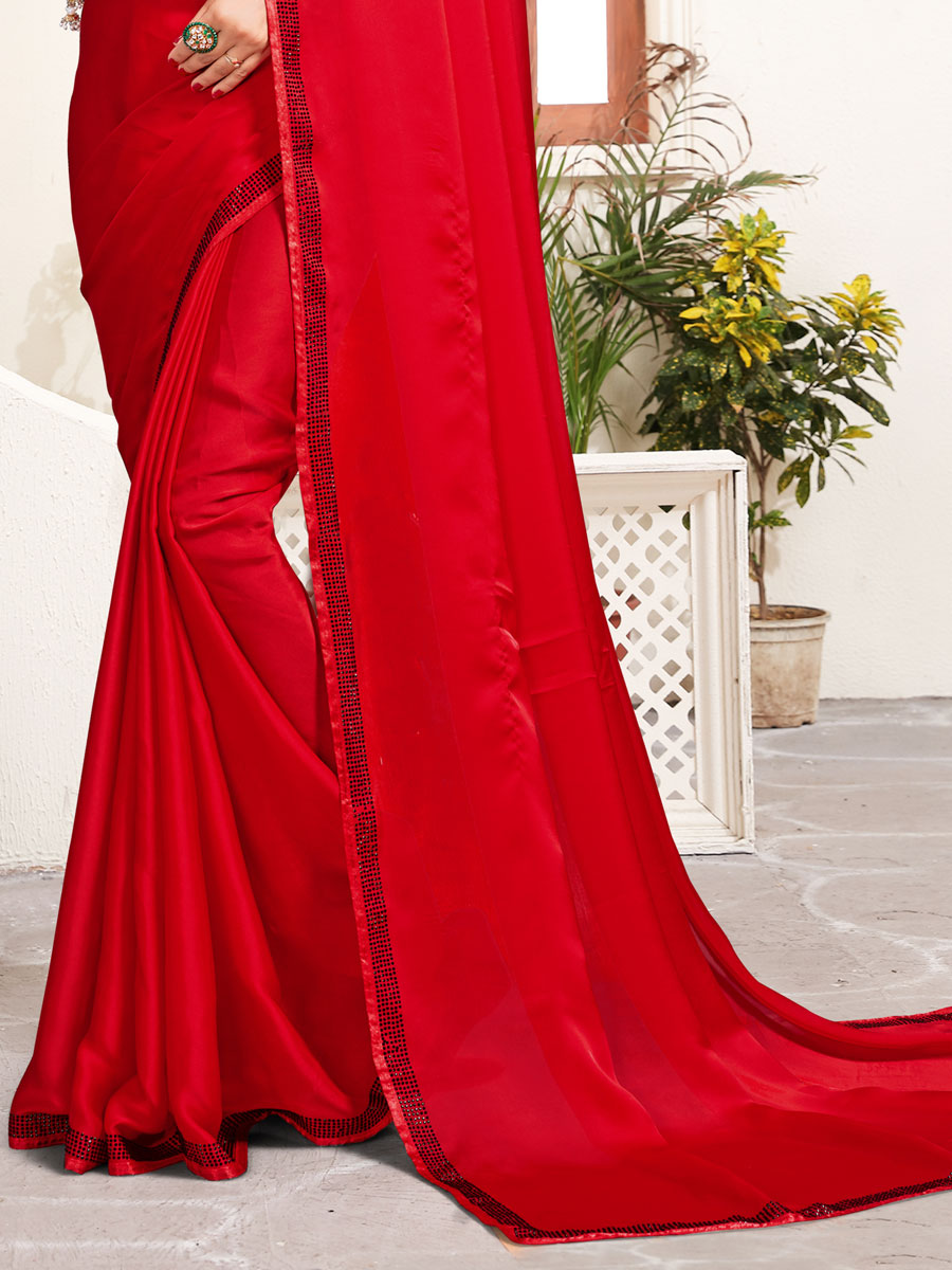 Rose Madder Red Satin Embroidered Party Saree