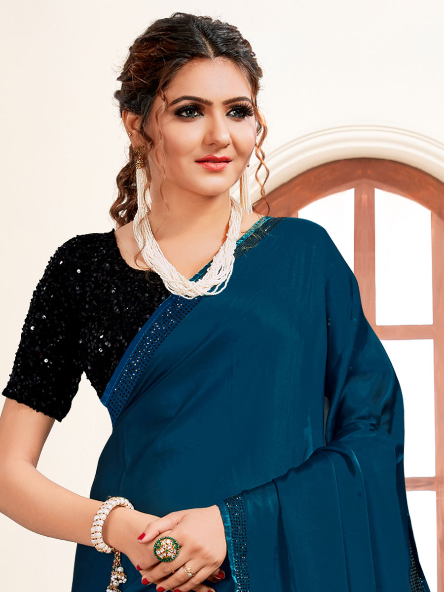 Midnight Blue Satin Embroidered Party Saree