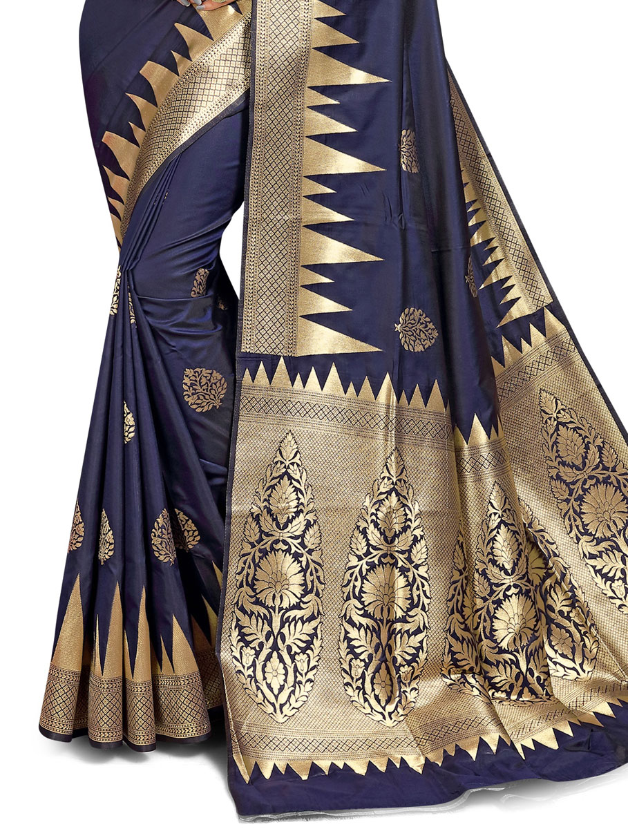 Navy Blue Jacquard Art Silk Handwoven Festival Saree