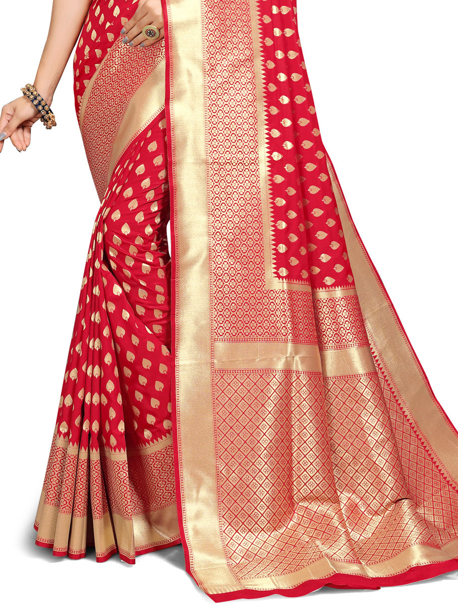 Rose Madder Red Jacquard Art Silk Handwoven Festival Saree