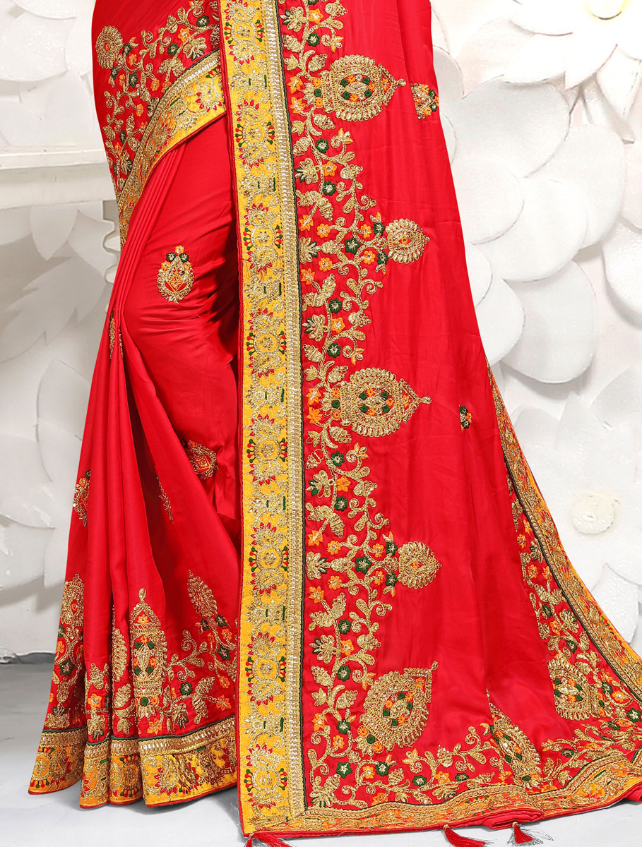 Rose Madder Red Satin Embroidered Festival Saree
