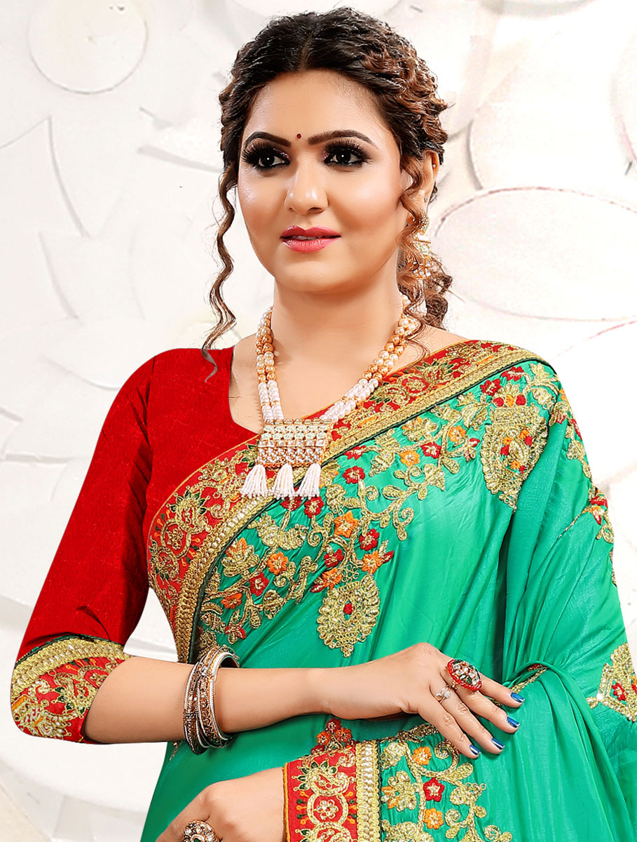 Jade Green Satin Embroidered Festival Saree