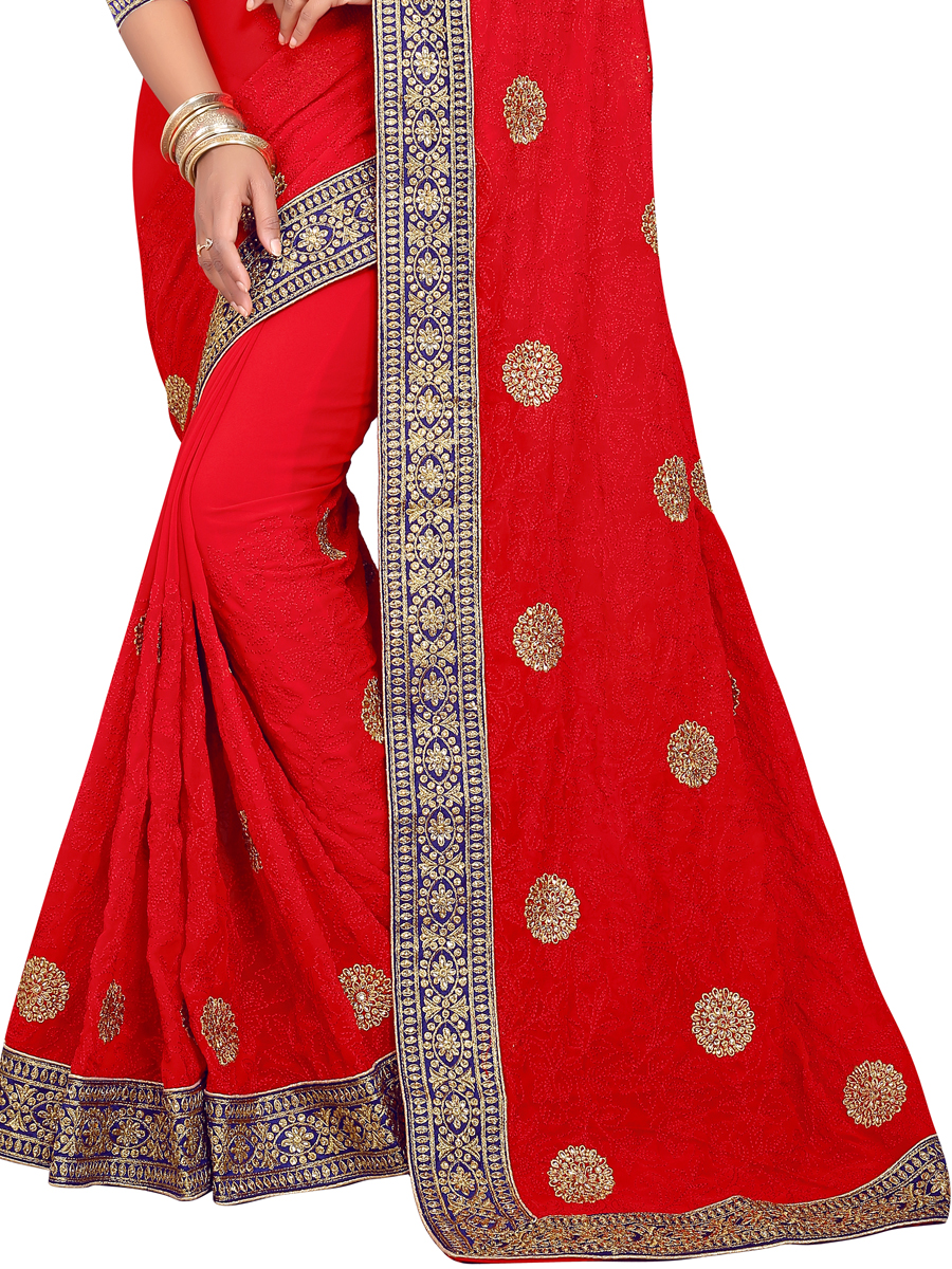 Rose Madder Red Faux Georgette Embroidered Party Saree