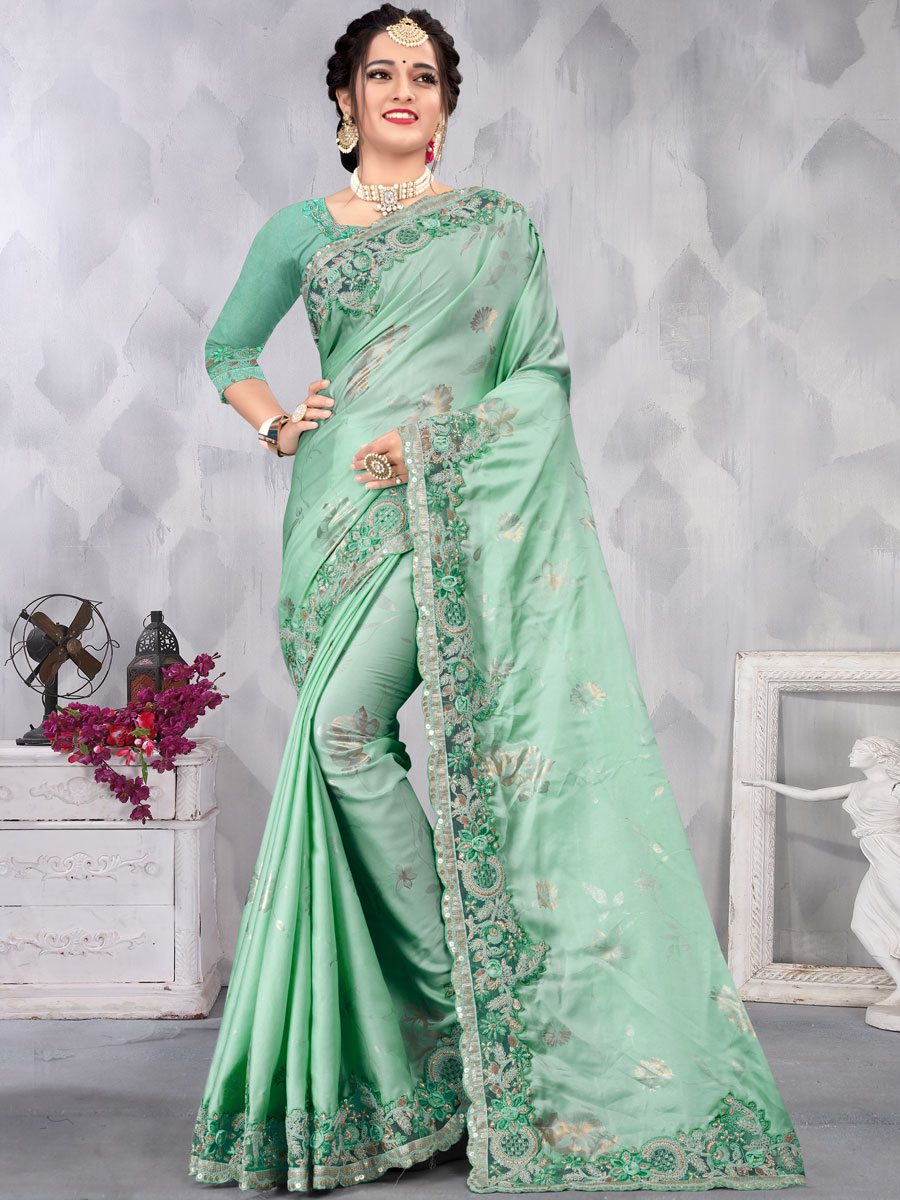 Celadon Green Satin Embroidered Party Saree