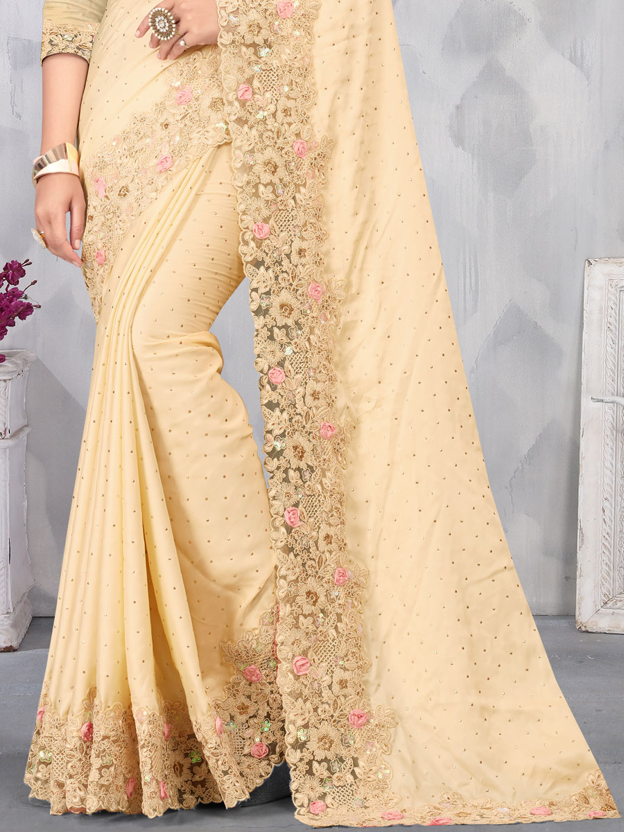 Cream Yellow Satin Embroidered Party Saree