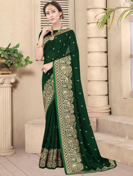 Hunter Green Vichitra Silk Embroidered Party Saree