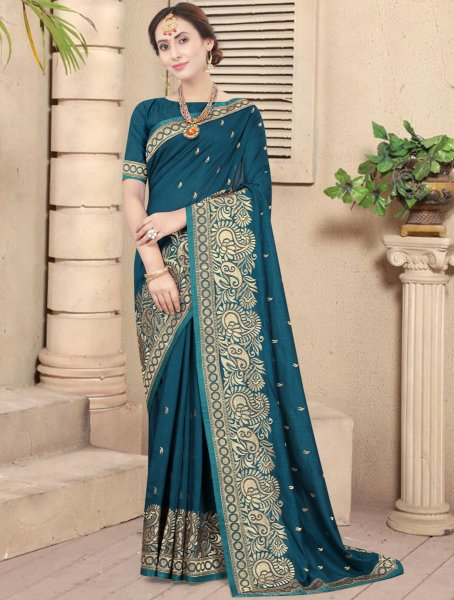 Teal Green Vichitra Silk Embroidered Party Saree