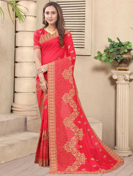 Carmine Pink Vichitra Silk Embroidered Festival Saree
