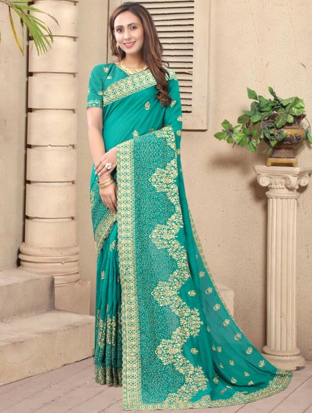 Jungle Green Vichitra Silk Embroidered Festival Saree