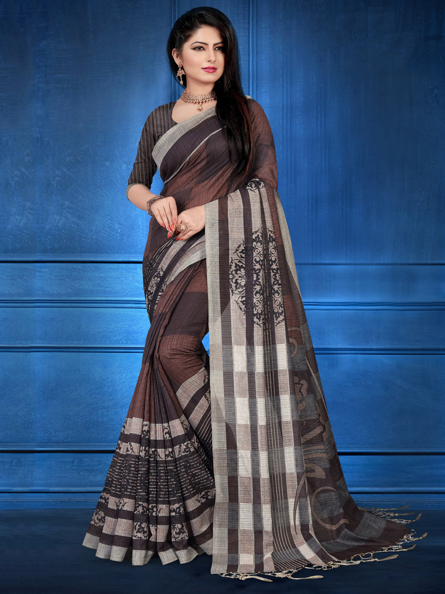 Seal Brown Art Silk Casual Printed Saree